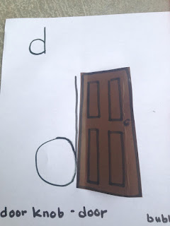 "Teach lower case ""d"" and ""be door knob preschool"