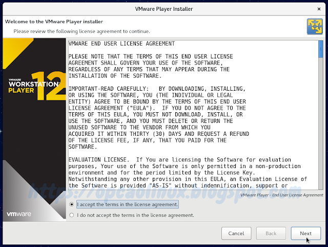 Termos de licença do VMware Workstation Player
