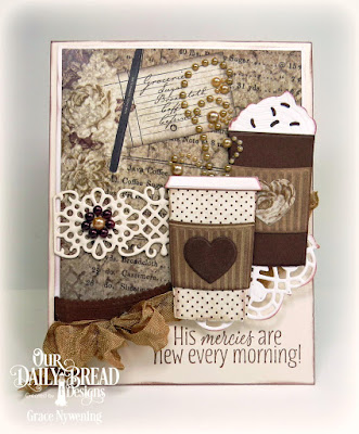 Our Daily Bread Designs Stamp Set: Rise and Shine, Our Daily Bread Designs Paper Collection: Vintage Ephemera, Our Daily Bread Designs Custom Dies: Beverage Cup, Flower Lattice, Doily, Leafy Edged Borders