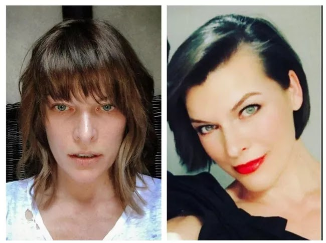 24 Pictures Of Famous Women With And Without Makeup - Milla Jovovich