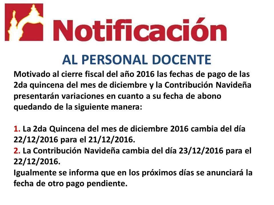 Notificación al Personal Docente Estadal: Carabobo