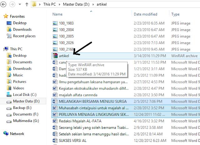 Cara merubah file jadi rar