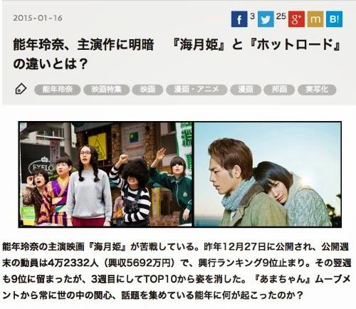 能年玲奈、主演作に明暗 『海月姫』と『ホットロード』の違いとは?