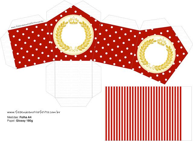 Corona Dorada en Rojo: Caja con Forma de Casa, para Bodas, para Imprimir Gratis.