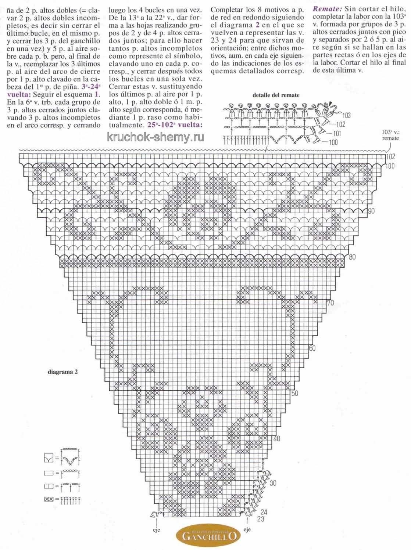 Схема скатерти крючком филейный узор