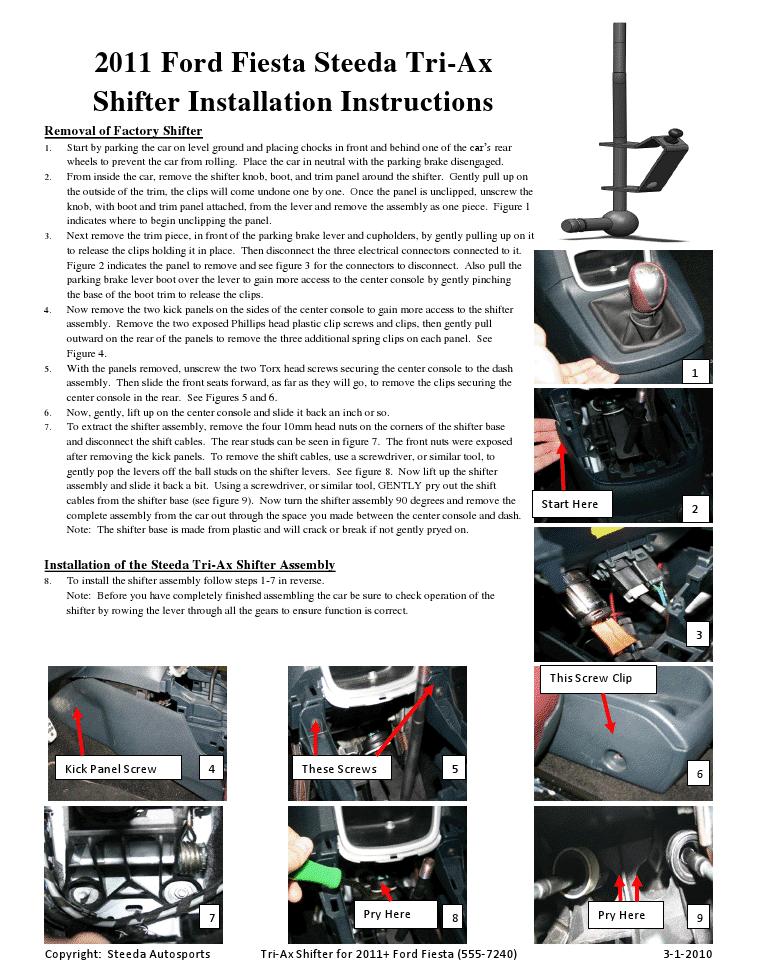 tri ax shifter installation instructions  ford fiesta