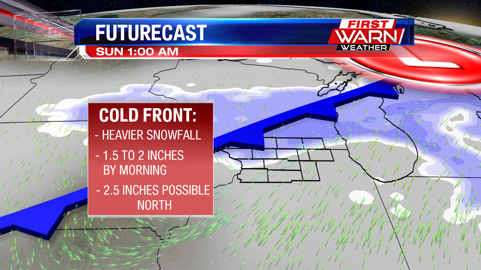 the cold front is expected to move in around midnight when heavy snow showers will be expected across the stateline we maintain the snow showers