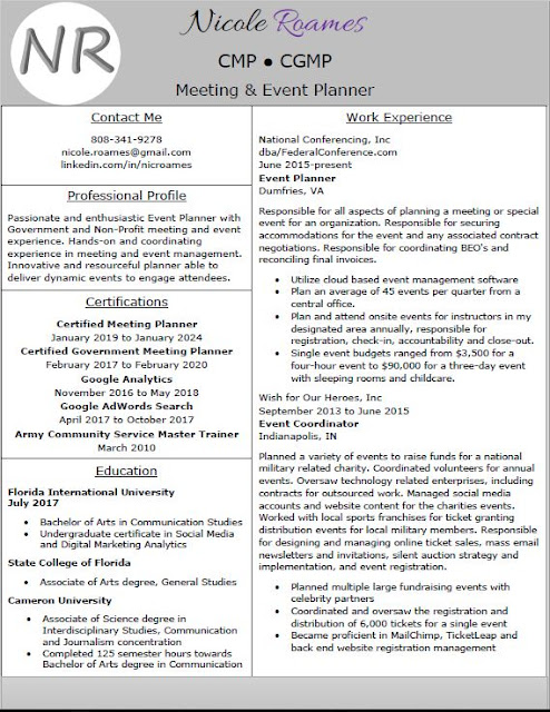 nicole roames  cmp  cgmp resume  resume