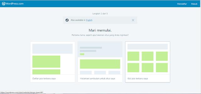 pilih halaman situs yang diinginkan di wordpress