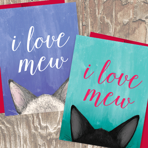 I Love Mew Cat Valentine's Day Love Card