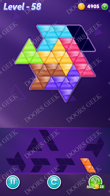 Block! Triangle Puzzle Advanced Level 58 Solution, Cheats, Walkthrough for Android, iPhone, iPad and iPod