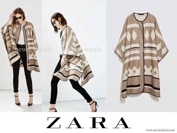 Crown Princess Mary wore Zara Poncho Coat - Zara Cape