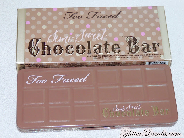 "Too Faced ""Semi-Sweet Chocolate Bar"" Palette swatches review. Makeup eyeshadow-GlitterLambs.com Licorice, Coconut Creme, Nouget, Truffled, Hot Fudge, Cocoa Chili, Pink Sugar, Puddin', Blueberry Swirl, Peanut Butter, Frosting, Rum Raisin, Mousse, Caramel, Bon Bon, Butter Pecan"