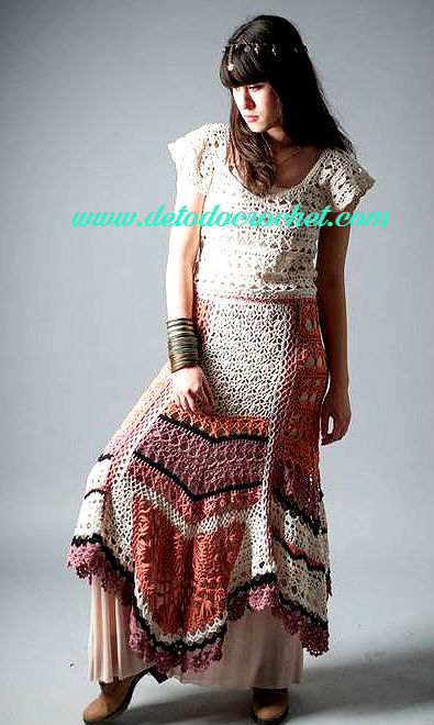 Vestido y Faldas con aire bohemio / Patrones Crochet | Todo crochet