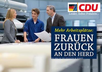 Lustiges Wahlplakat CDU - Frauen zurück in die Küche, an den Herd