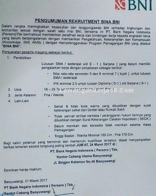 Pengumuman Rekrutmen Bina Pt Bank Negara Indonesia Persero Tbk Rekrutmen Lowongan Kerja Bulan Desember 2020
