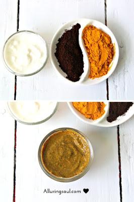 Masker kopi, kunyit dan yogurt