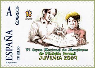 Sello personalizado del VI Curso Nacional de Monitores de Filatelia Juvenil,