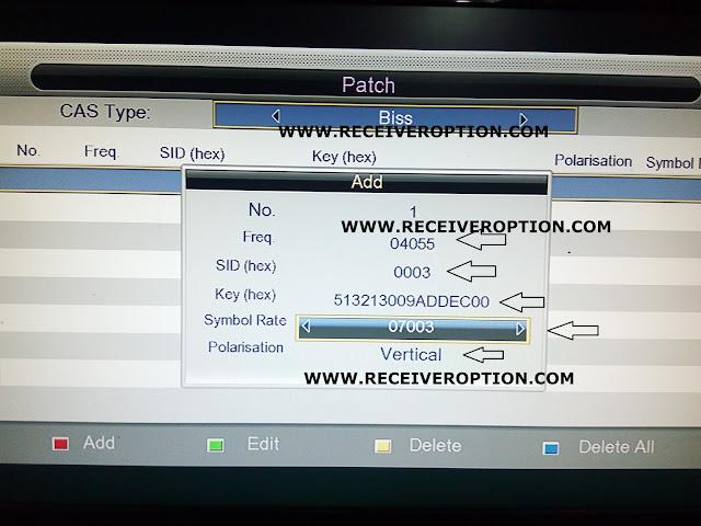 ECQLINK EI7000 HD RECEIVER BISS KEY OPTION