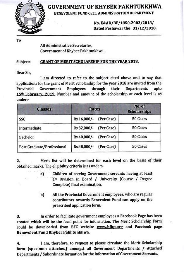 GRANT OF MERIT SCHOLARSHIP FOR THE YEAR 2018 BY GOVERNMENT OF KHYBER PAKHTUNKHWA