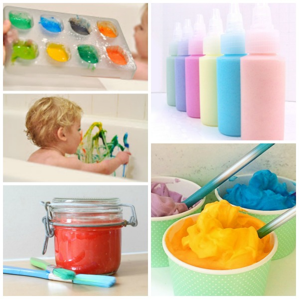 10 easy was to make bath paint for kids.  All the fun of painting with zero mess!