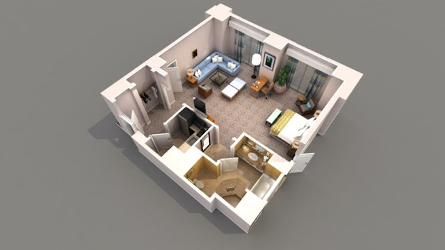 open style one bedroom 3d floor plans