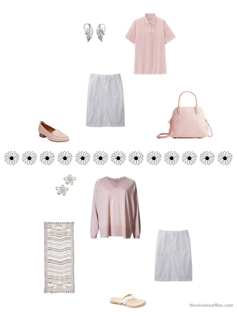 how to style a while skirt with pink and grey for hot weather