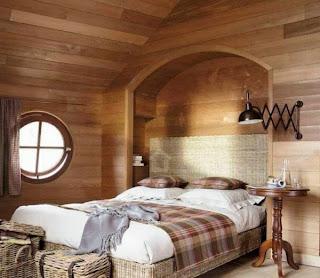 Dormitorio paredes en madera