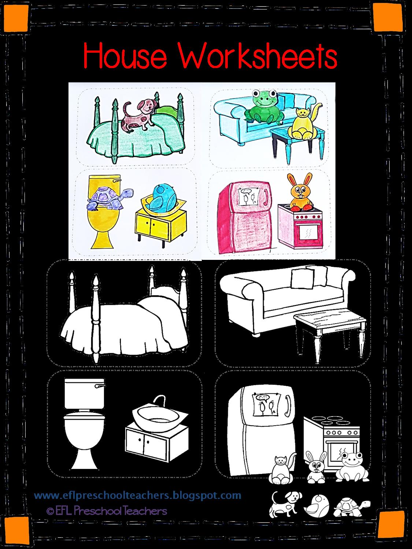 House Rooms Worksheet: ESL/EFL Preschool Teachers: House Worksheets For The