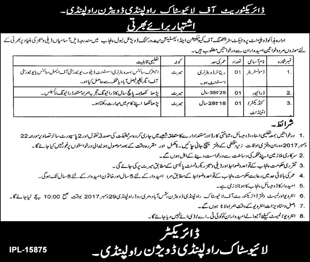 Jobs In Livestock Department Rawalpindi Dec 2017