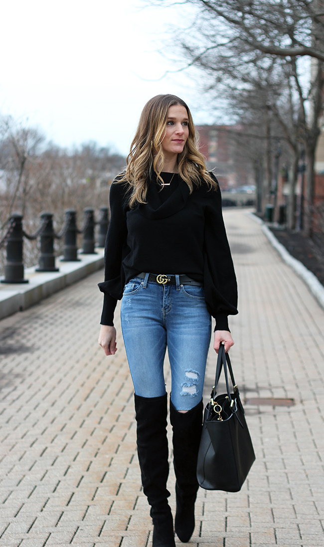 off the shoulder sweater #offshoulder #winterstyle #rippedjeans