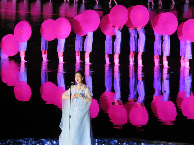 Singer and back-up performers at the impression West Lake show in Hangzhou, China