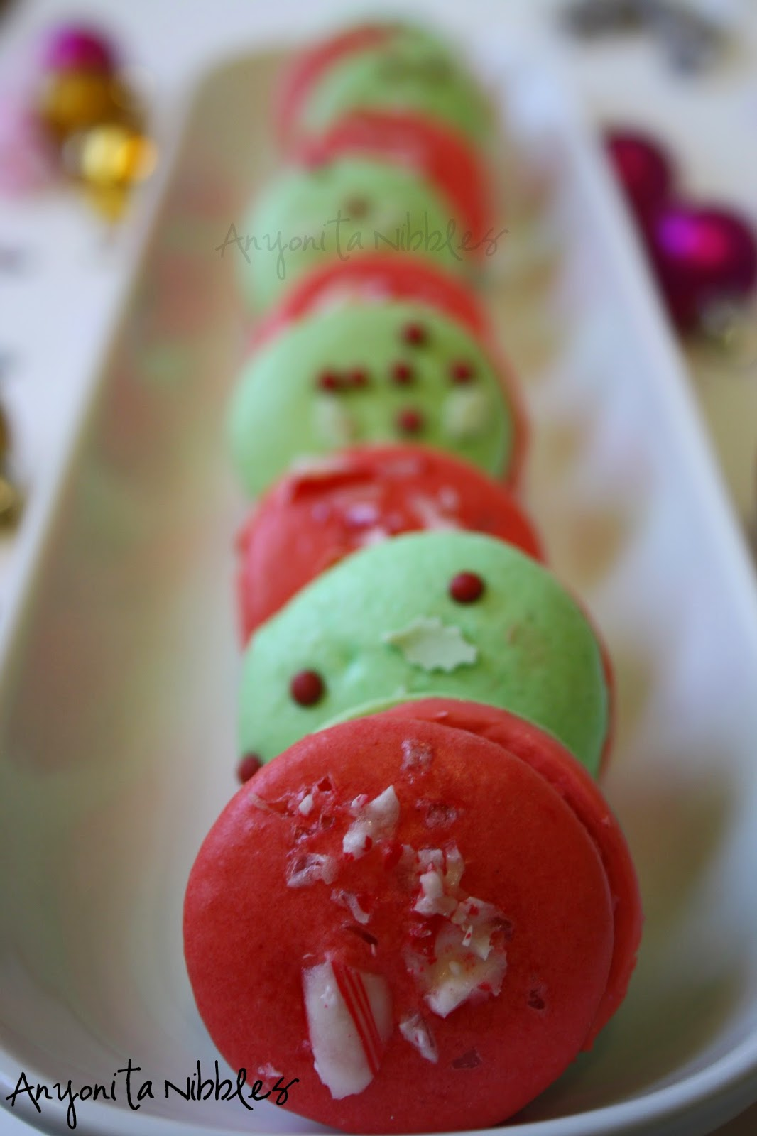 A row of peppermint macarons from Anyonita-nibbles.co.uk