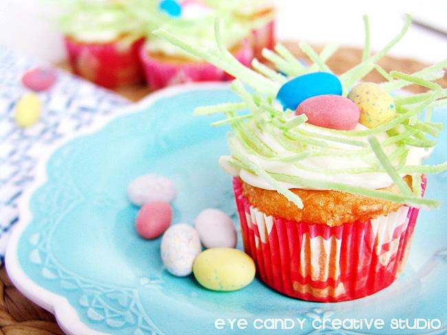 cupcakes, birds nest cupcakes, easter treat ideas, easter dessert