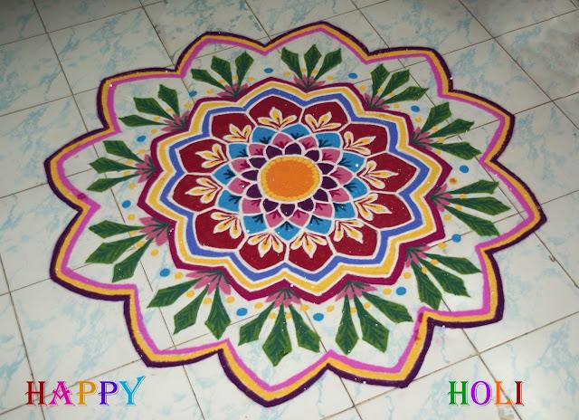 Simple Holi Rangoli Colors