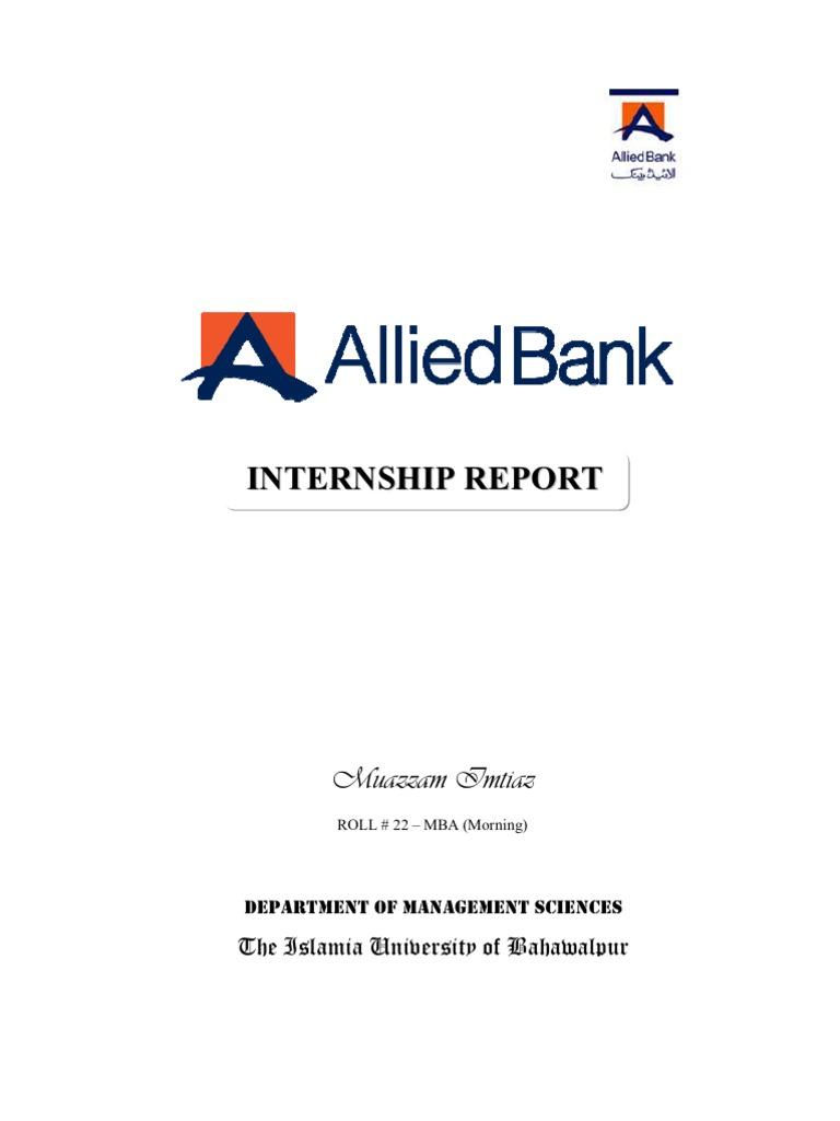 Internship Report of Allied Bank of Pakistan - Internship