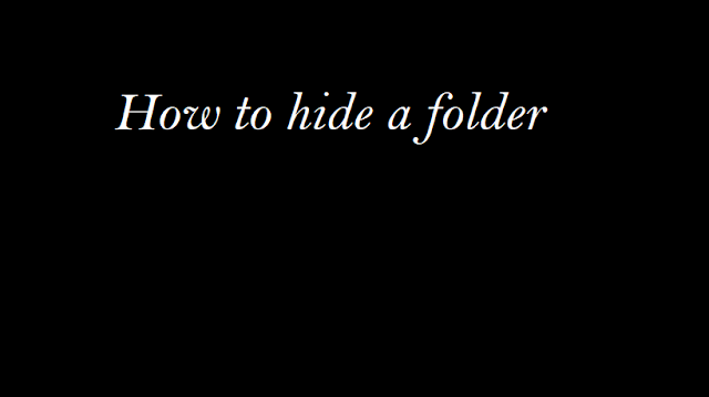How To hide a folder