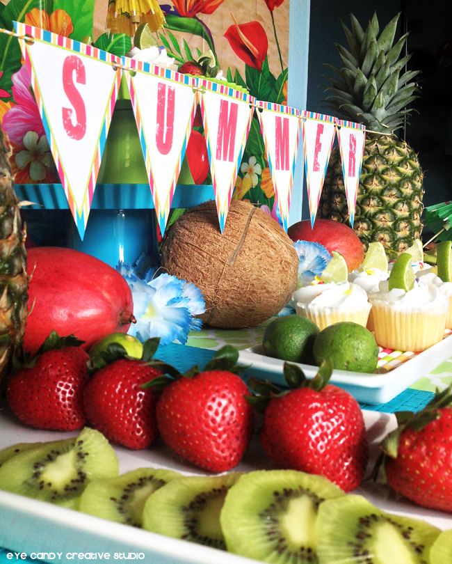 summer banner, free summer printables, tropical decor, luau ideas