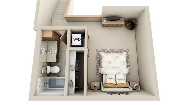 Beautiful Studio Style 1 Bedroom House Plans With Basement