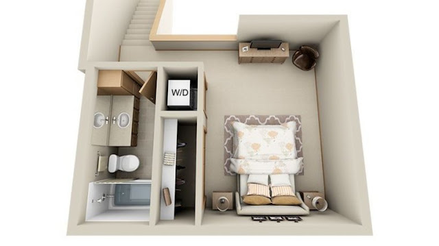 Studio style 1 bedroom house plans with basement
