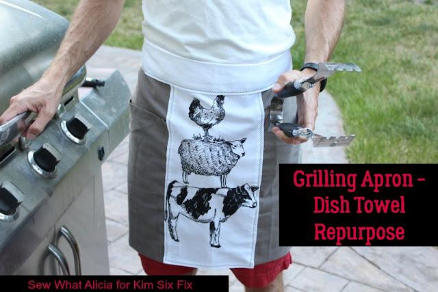 Grilling Apron - Dish Towel Repurpose | www.thekimsixfix.com