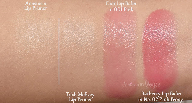 Trish McEvoy Flawless Lip Primer Anastasia Beverly Hills Lip Primer Dior Addict Lip Glow Color Reviver Balm in 001 Pink Swatches