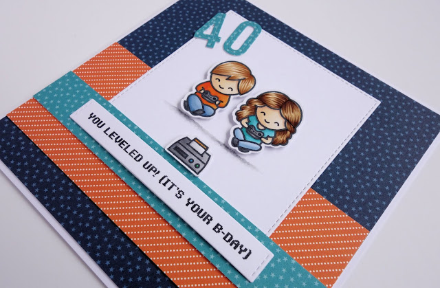 Handmade gaming birthday card with fun sentiment (using Screen Time stamps from Lawn Fawn)