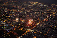 NYE fireworks Melbourne from the sky