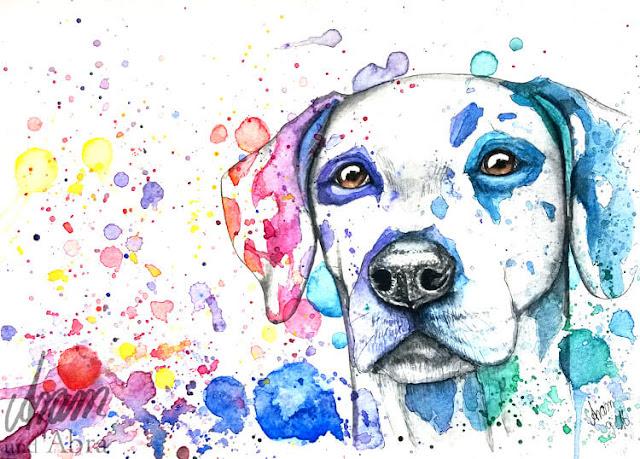 Dalmatiner in Regenbogenfarben, Illustration für Print, Aquarell, DIN A4