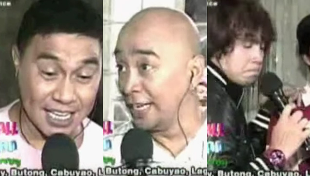 Jose, Wally and Paolo impersonating other singers.