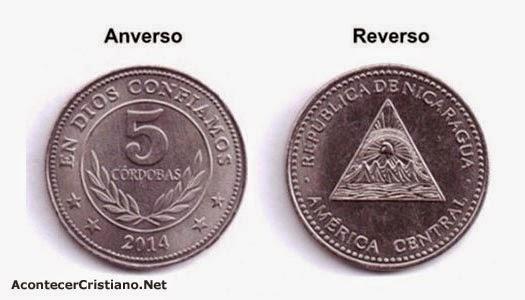 """Lema """"En Dios Confiamos"""" en moneda de Nicaragua"""