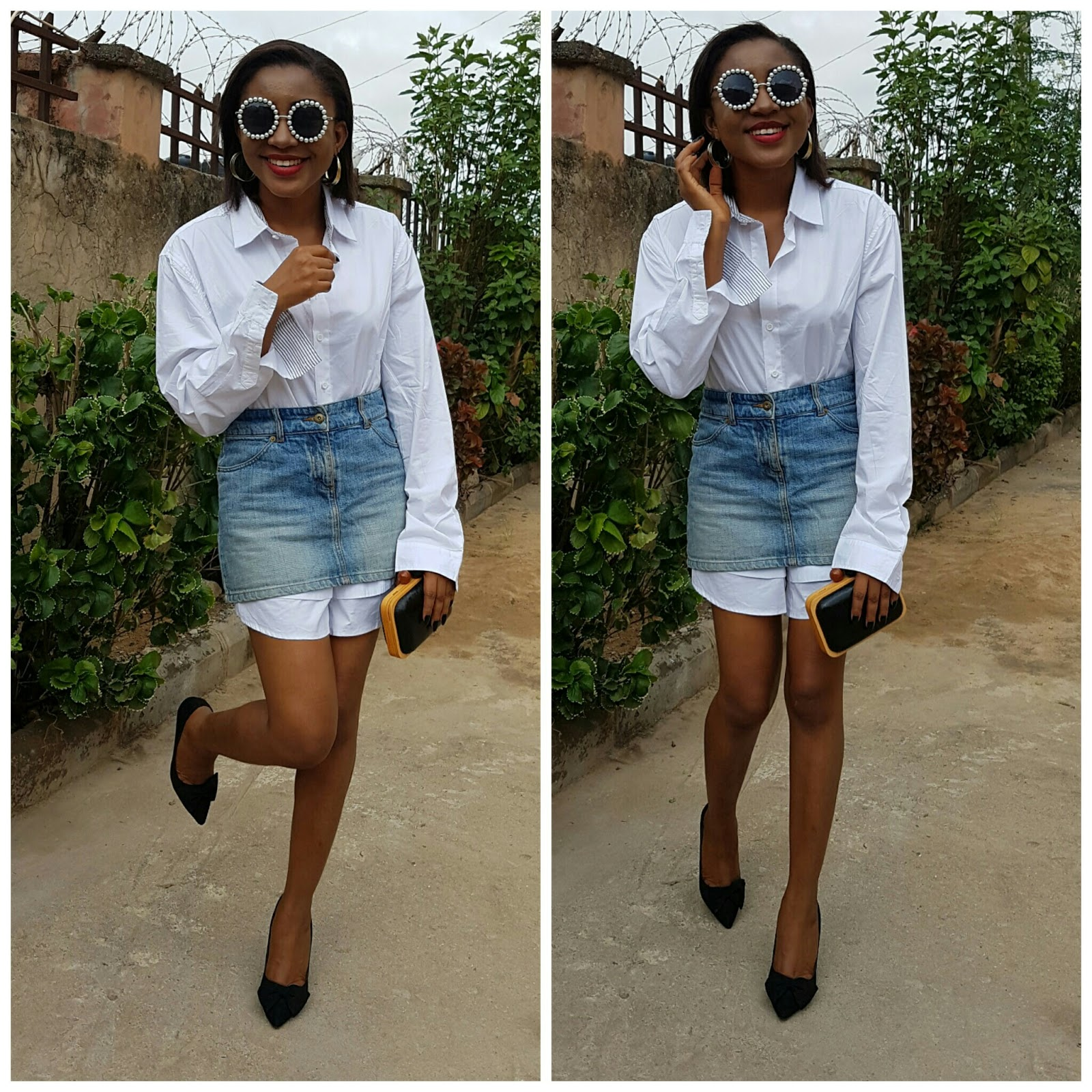 styling oversize shirt, denim skirt, clutch, black heels, chanel sunglasses