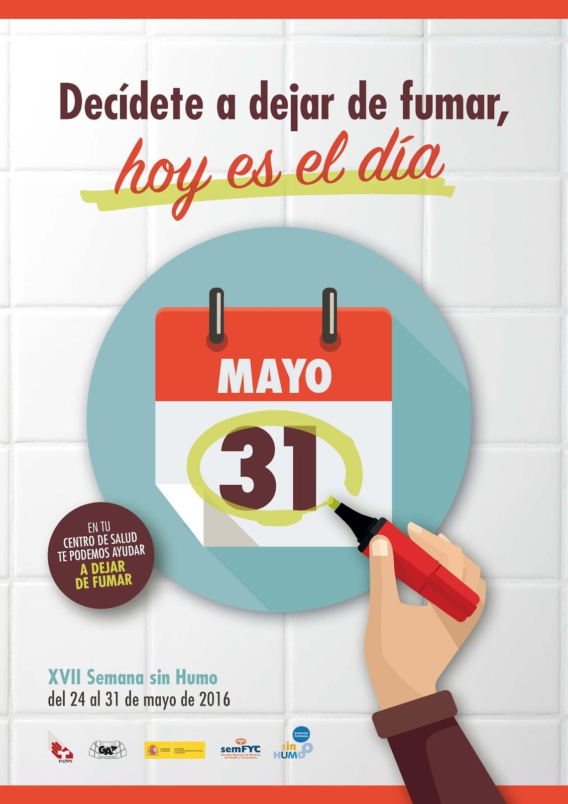 D a mundial sin tabaco 31 de mayo for Cuarto dia sin fumar