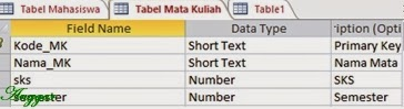 Tampilan design view tabel mata kuliah